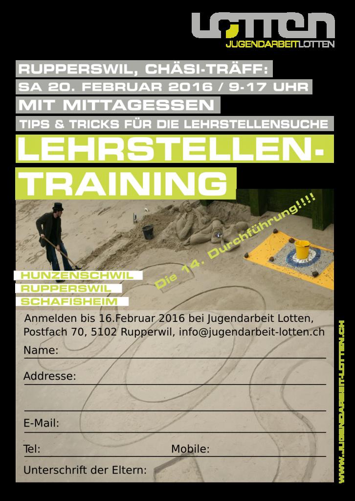 Flyer Lehrstellentraining 2015